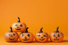 Halloween pumpkin heads with funny smile. Stock Image
