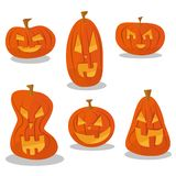 Halloween pumpkin heads set with different spooky face royalty free illustration