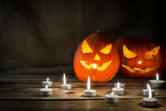Halloween pumpkin horizontal copyspace Royalty Free Stock Photos