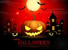 Halloween pumpkin horror background. Halloween pumpkin fullmoon horror background vector illustration Royalty Free Stock Image
