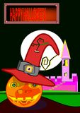 Fun night of horror and sympathetic horror. Halloween pumpkin with horror night witch hat in the enchanted landscape with castle and text royalty free illustration