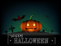 Halloween pumpkin and horror red bat on cemetery in a darkness b Stock Image