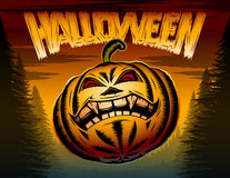 Halloween Pumpkin Horror Spooky Hatching Party Poster. Halloween Pumpkin with eyes and toothy mouth in a terrible night forest; Vector poster background for Royalty Free Stock Images