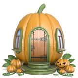 Halloween pumpkin house 3D Royalty Free Stock Images