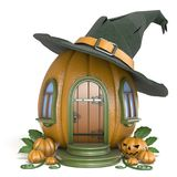 Halloween pumpkin house with witch hat 3D. Render illustration isolated on white background Royalty Free Stock Photos