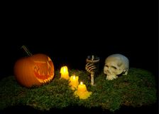 Halloween pumpkin, human skull, goblet and candles glowing in th royalty free stock photography