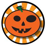 Halloween Pumpkin Icon. An illustration of a round pumpkin icon for  Halloween, isolated on a white background Royalty Free Stock Photo