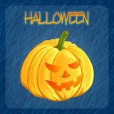 Halloween pumpkin icon in cartoon style. Jack o lantern isolated on a dark blue doodle background. It can be used for Stock Photography