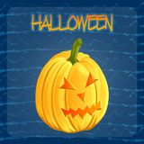 Halloween pumpkin icon in cartoon style. Jack o lantern isolated on a dark blue doodle blots background. It can be used Royalty Free Stock Photo