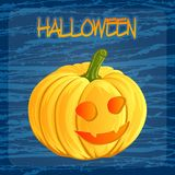 Halloween pumpkin icon in cartoon style. Jack o lantern isolated on a dark blue doodle blots background. It can be used Stock Photos