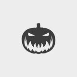 Halloween pumpkin icon in a flat design in black color. Vector illustration eps10. Halloween  pumpkin icon in a flat design in black color. Vector illustration Royalty Free Stock Image