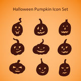 Halloween pumpkin icon set Stock Photography