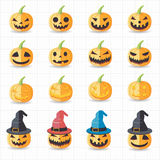 Halloween pumpkin icons. This image is a vector illustration Royalty Free Stock Images