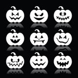 Halloween pumpkin  icons set on black background Stock Photos