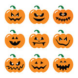Halloween pumpkin  icons set Stock Images