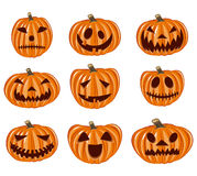Halloween pumpkin  icons set, Emotion Variation Stock Photos