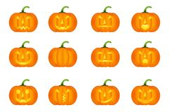 Halloween pumpkin  icons set, emotion variation, emoji. Simple flat style design elements.  Different funny and horror face expressions Royalty Free Stock Photos