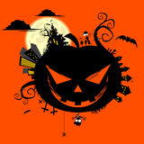Halloween pumpkin illustration. A Halloween illustration of a jack o'lantern and the town Royalty Free Stock Photo