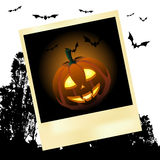 Halloween pumpkin on the instant photo Royalty Free Stock Photography