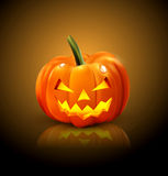 Halloween Pumpkin isolated. On a dark background with reflection Stock Photography
