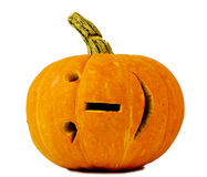 Halloween pumpkin isolated on white background with internet smile stock photography