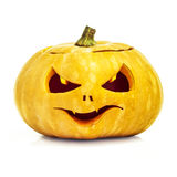 Halloween Pumpkin isolated on white background. Scary Halloween vertical yellow pumpkin face isolated on white background with clipping path Stock Photography