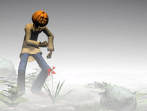 Halloween, pumpkin jack, foggy forest. Stock Photography