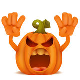 Halloween Pumpkin Jack Lantern emoticon cartoon character. royalty free stock photo