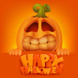 Halloween Pumpkin Jack Lantern invitation card. Vector illustration Royalty Free Stock Image