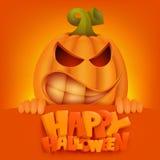 Halloween Pumpkin Jack Lantern invitation card. Vector illustration Royalty Free Stock Images