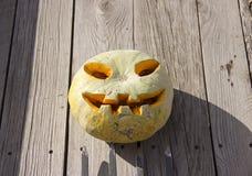 Halloween pumpkin  jack lantern on a pitchfork royalty free stock image