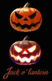 Halloween pumpkin jack lantern in two style on dark background Stock Photography