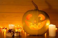 Halloween pumpkin. Jack O Lantern halloween pumpkin with candle light inside royalty free stock photo