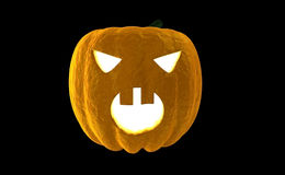 Halloween Pumpkin Jack O Lantern 3d rendering isolated on black background with place for text Stock Image
