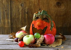 Halloween pumpkin Jack O'Lantern with fruit Royalty Free Stock Photos