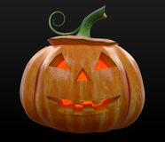 Halloween Pumpkin Jack-o-Lantern Illuminated. Isolated on black background Stock Photography