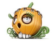 Halloween pumpkin Jack O Lantern lady 3D. Render illustration isolated on white background Stock Image
