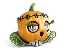 Halloween pumpkin Jack O Lantern lady 3D. Render illustration isolated on white background Royalty Free Stock Photo