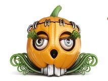 Halloween pumpkin Jack O Lantern lady 3D. Render illustration isolated on white background Royalty Free Stock Photography