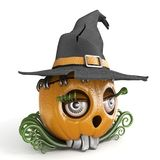 Halloween pumpkin Jack O Lantern lady with witch hat 3D Royalty Free Stock Photos