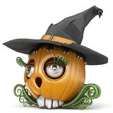 Halloween pumpkin Jack O Lantern lady with witch hat 3D Royalty Free Stock Images