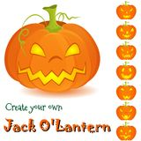 Halloween pumpkin Jack O'Lantern set  on. Halloween assembly kit Create your own Jack O'Lantern on white background. Pumpkins designs with interchangeable facial Royalty Free Stock Images