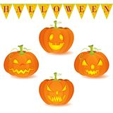Halloween pumpkin Jack O'Lantern set. Halloween decoration Jack O'Lantern vector set on white background. Pumpkins designs with different facial expressions Stock Photo