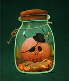 Halloween pumpkin in jar. Greeting card or poster Happy Halloween and pumpkin in  glass jar. Computer graphics Stock Images