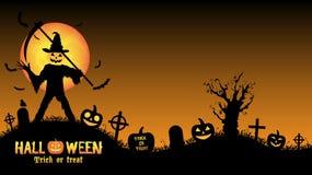 Halloween pumpkin killer in a graveyard Stock Photo