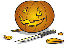 Halloween pumpkin and knife Royalty Free Stock Photos