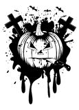 Halloween pumpkin with knife Royalty Free Stock Photography