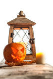 Halloween pumpkin and lantern Royalty Free Stock Photos