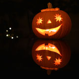 Halloween pumpkin lantern at night Royalty Free Stock Image