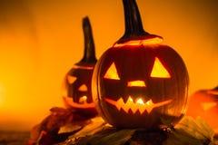 Halloween pumpkin lanterns dark light angry face fall Stock Image